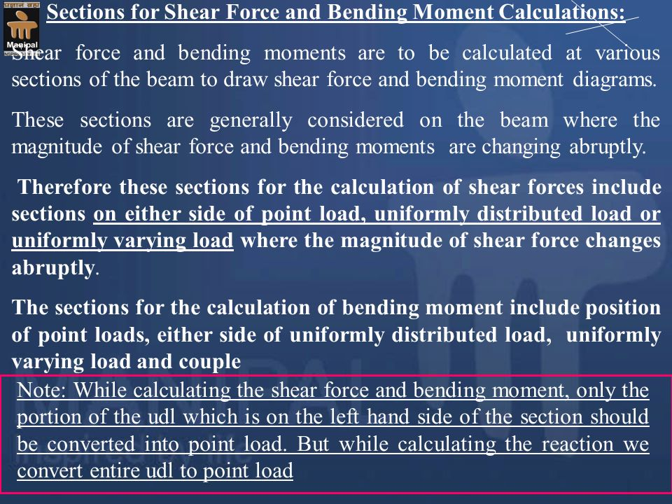 Sections for Shear Force and Bending Moment Calculations:
