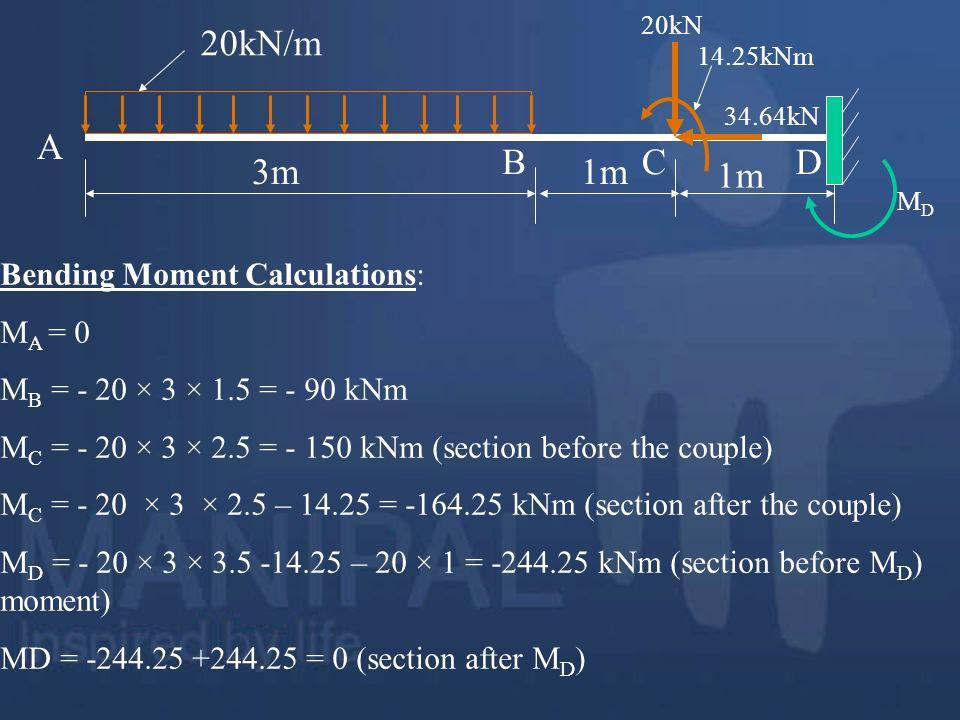 20kN/m 3m 1m A B C D Bending Moment Calculations: MA = 0