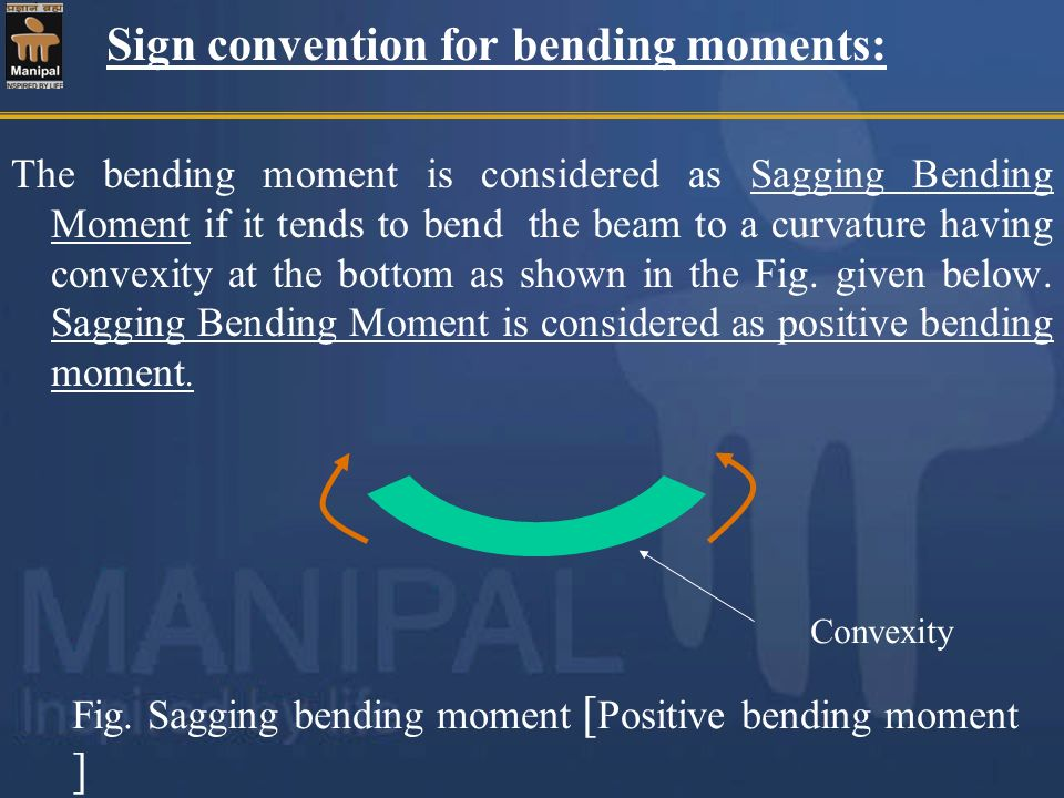 Sign convention for bending moments: