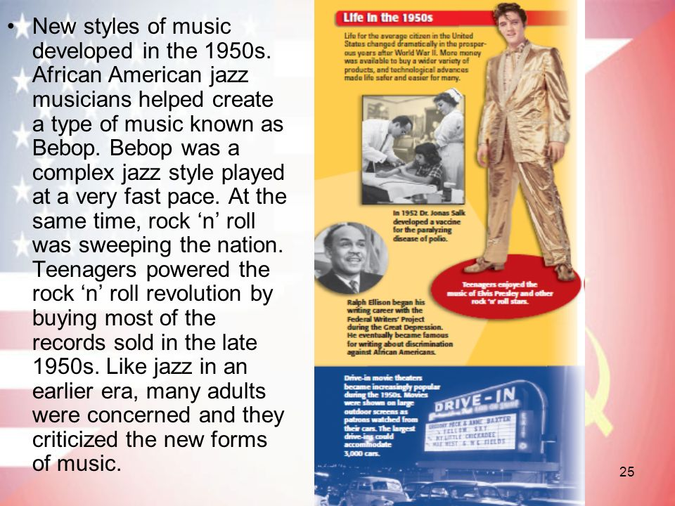 New styles of music developed in the 1950s