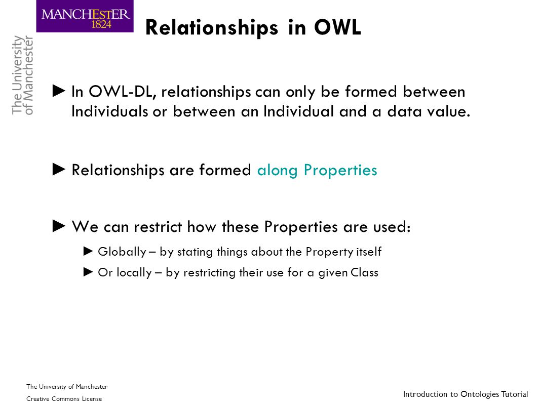 Relationships in OWL In OWL-DL, relationships can only be formed between Individuals or between an Individual and a data value.