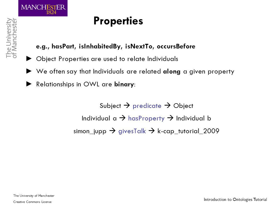 Properties Object Properties are used to relate Individuals