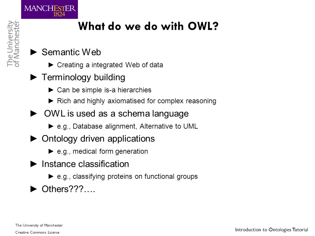 What do we do with OWL Semantic Web Terminology building