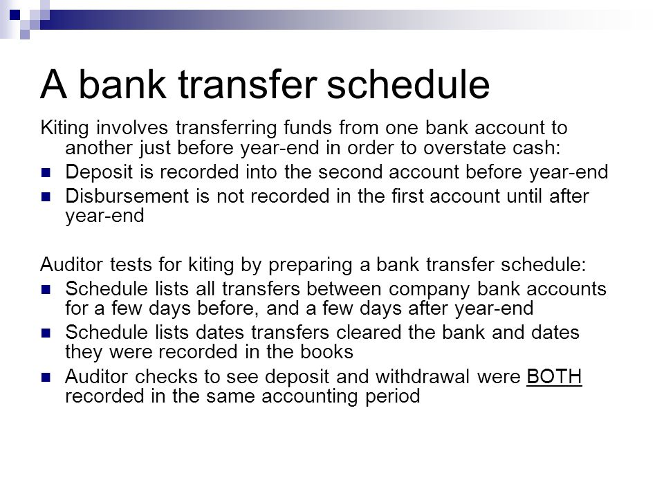A bank transfer schedule