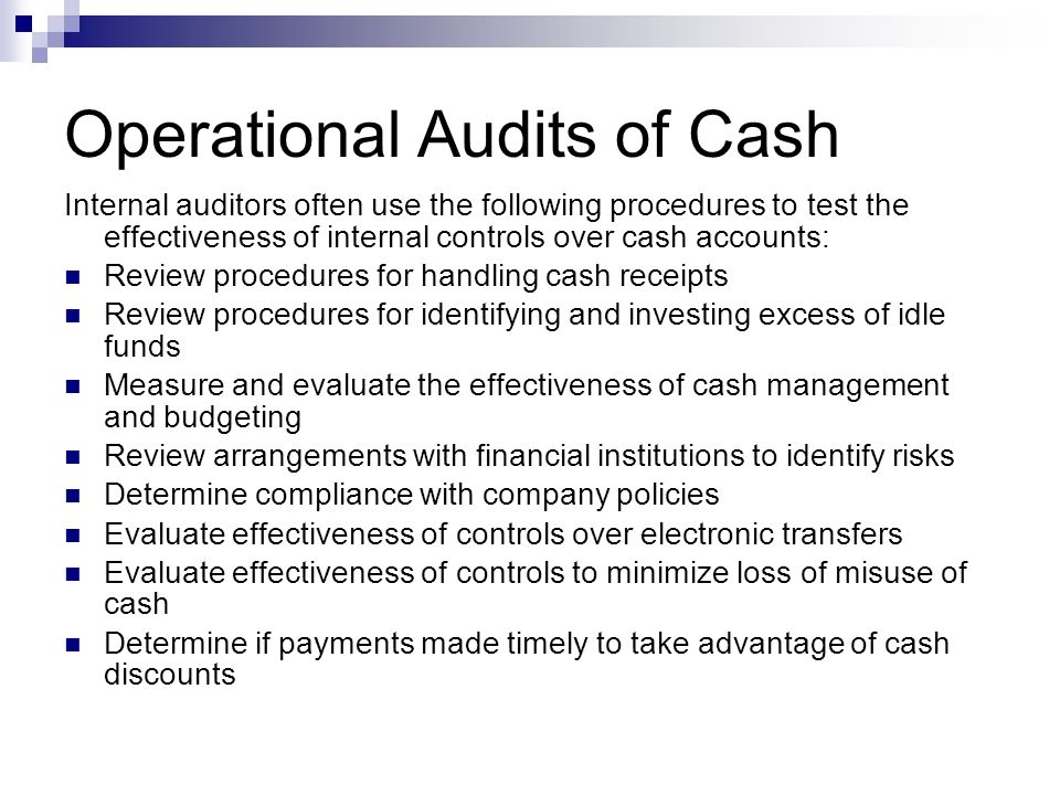 Operational Audits of Cash