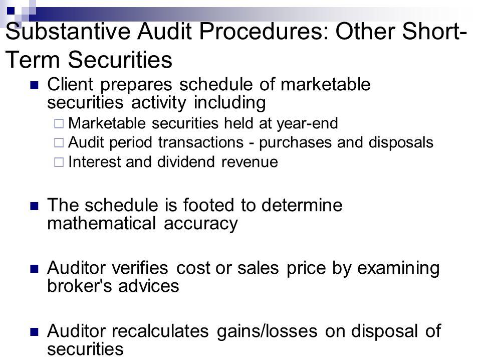 Substantive Audit Procedures: Other Short-Term Securities