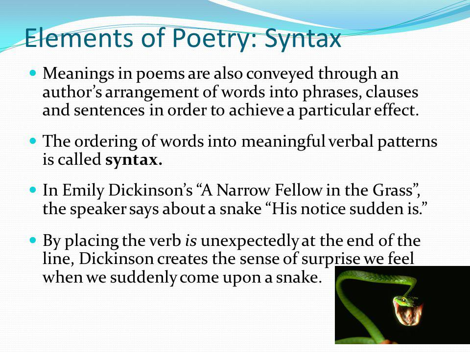 Elements of Poetry: Syntax