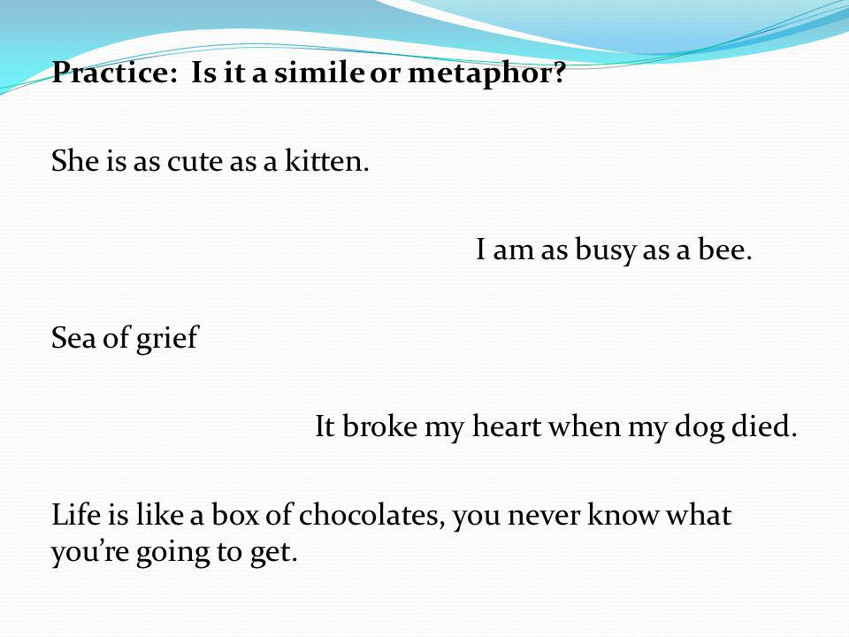 Practice: Is it a simile or metaphor. She is as cute as a kitten