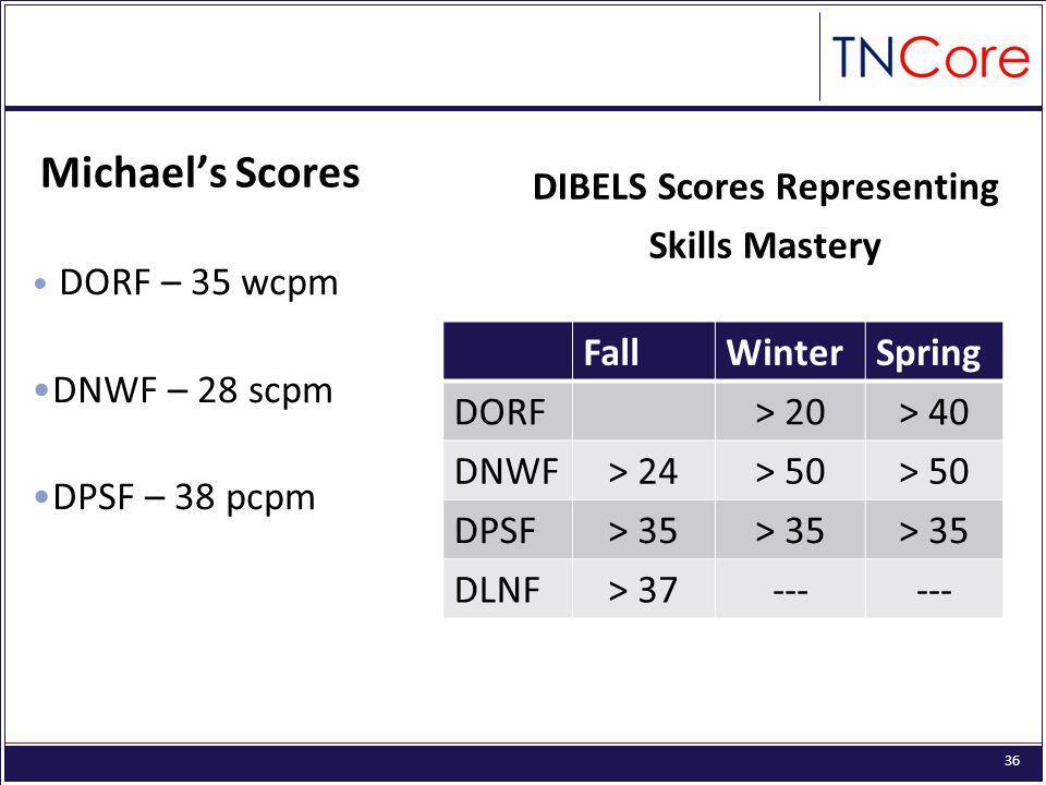 DIBELS Scores Representing Skills Mastery