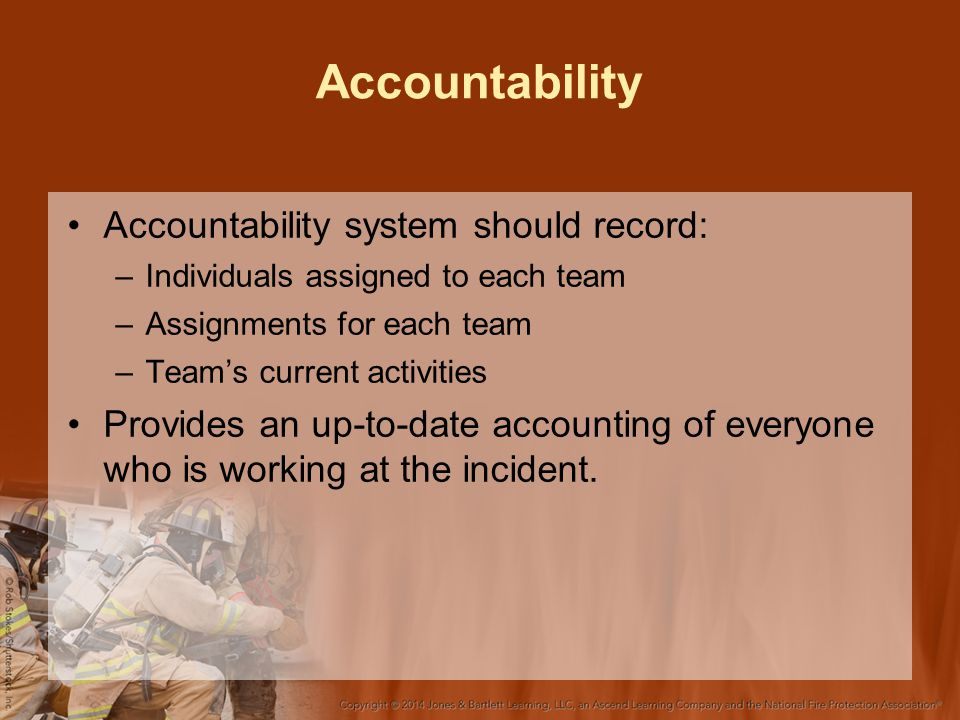 Accountability Accountability system should record: