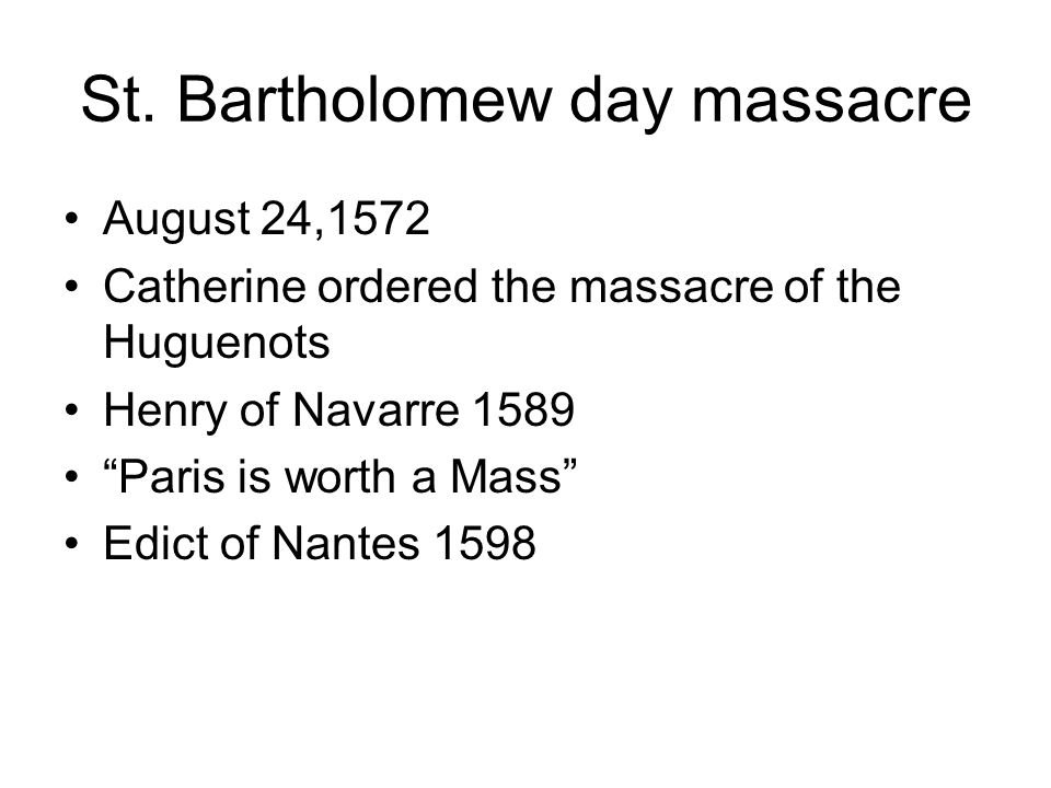 St. Bartholomew day massacre
