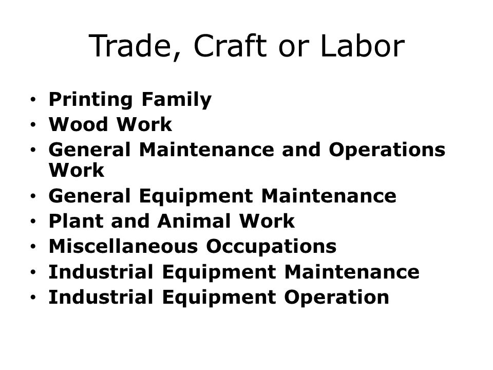 Trade, Craft or Labor Printing Family Wood Work