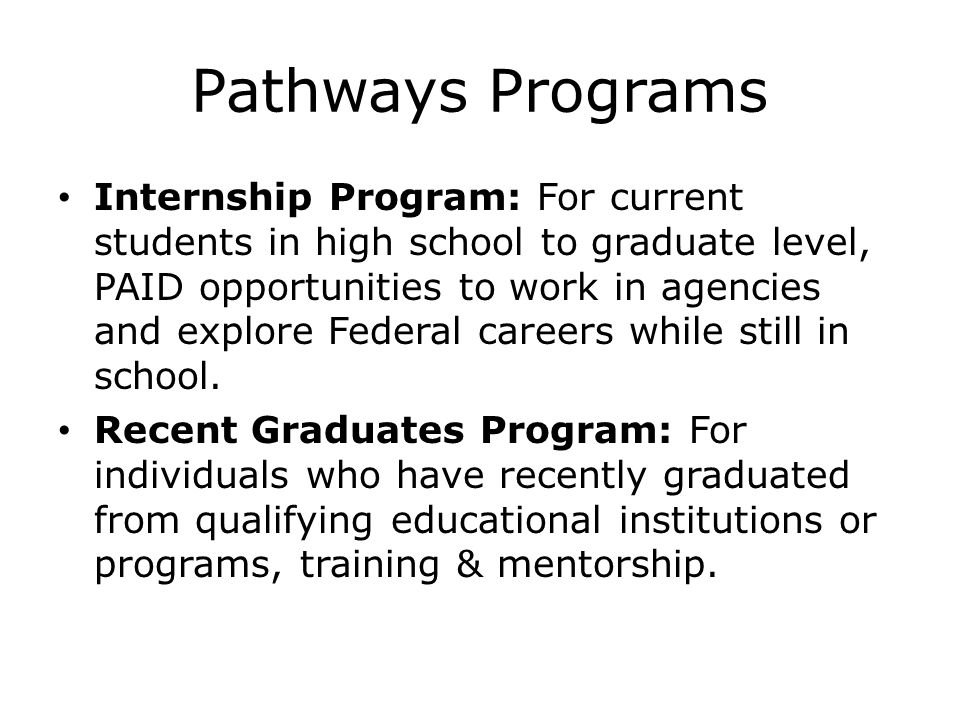 Pathways Programs
