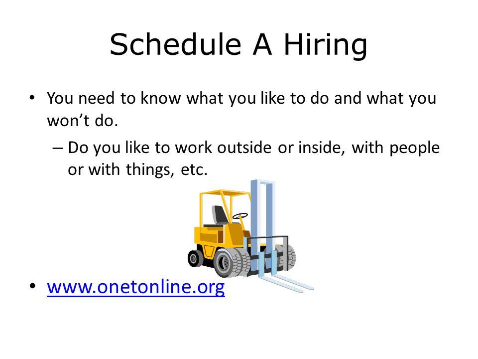 Schedule A Hiring www.onetonline.org