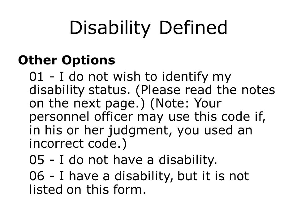 Disability Defined Other Options