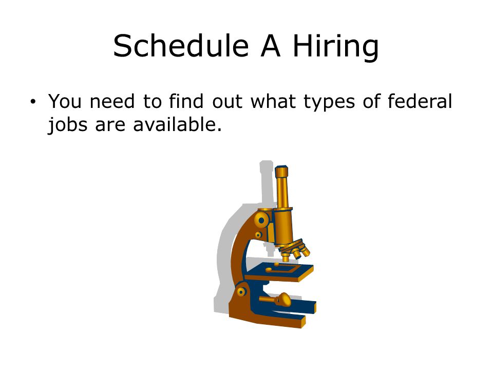 Schedule A Hiring You need to find out what types of federal jobs are available.