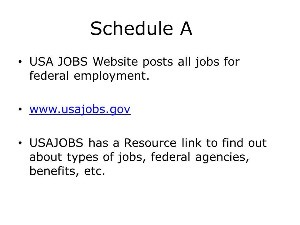 Schedule A USA JOBS Website posts all jobs for federal employment.