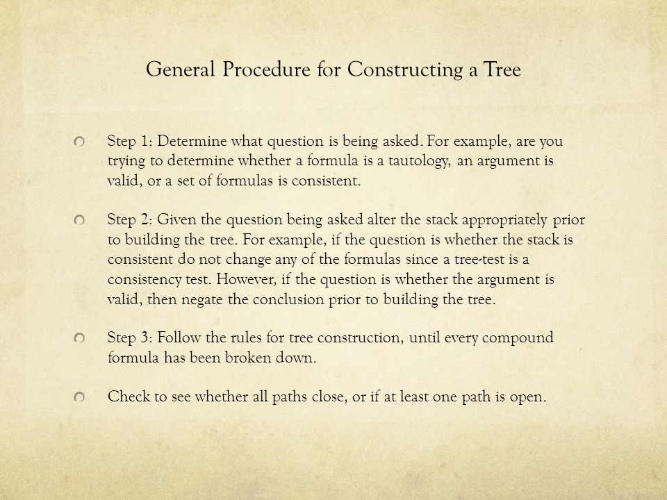 General Procedure for Constructing a Tree