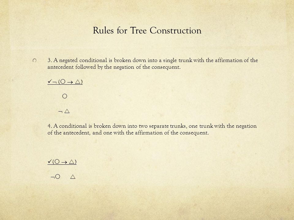 Rules for Tree Construction