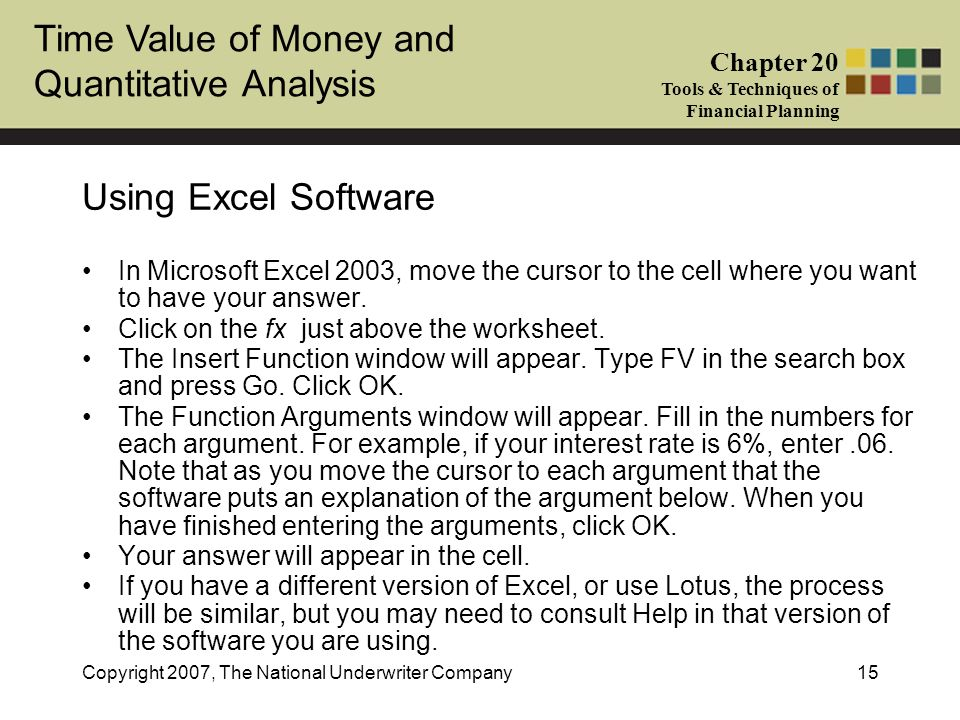 Using Excel Software In Microsoft Excel 2003, move the cursor to the cell where you want to have your answer.