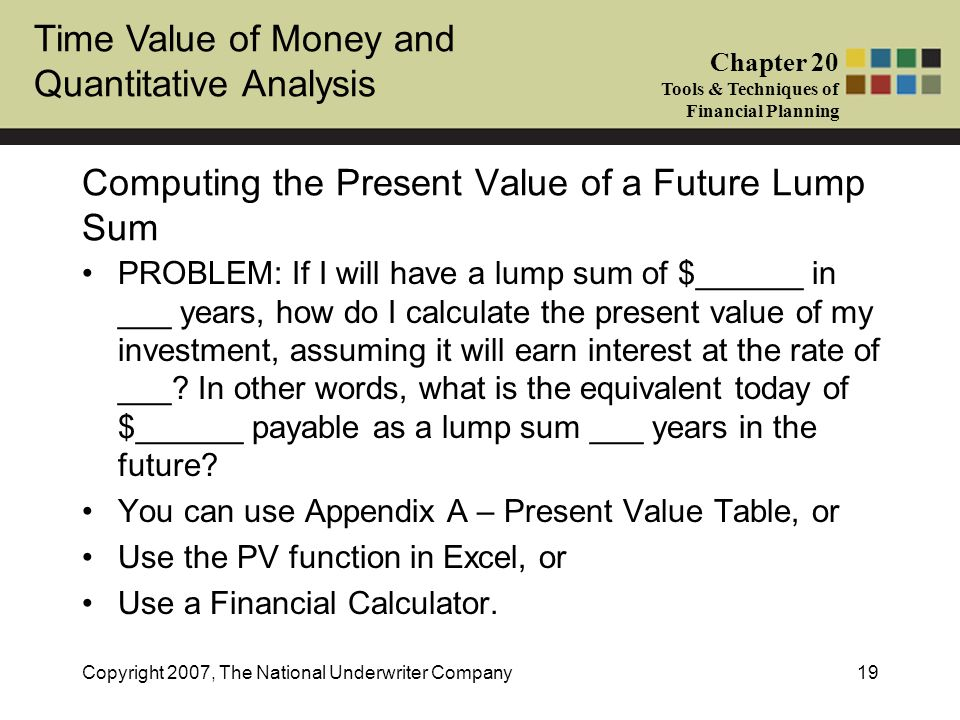 Computing the Present Value of a Future Lump Sum
