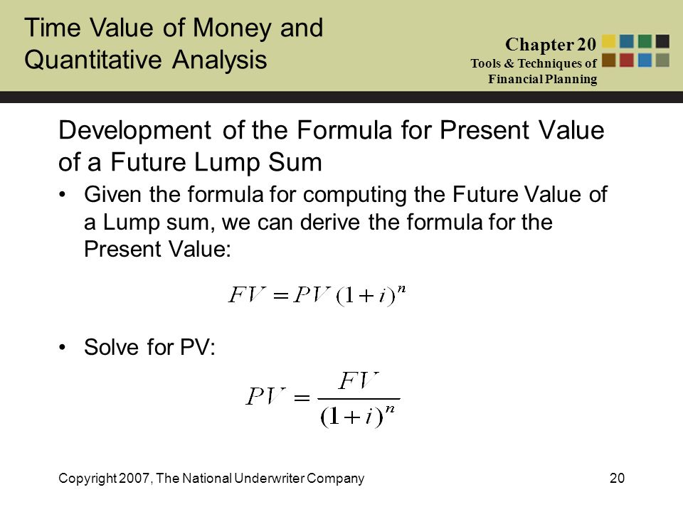 Development of the Formula for Present Value of a Future Lump Sum
