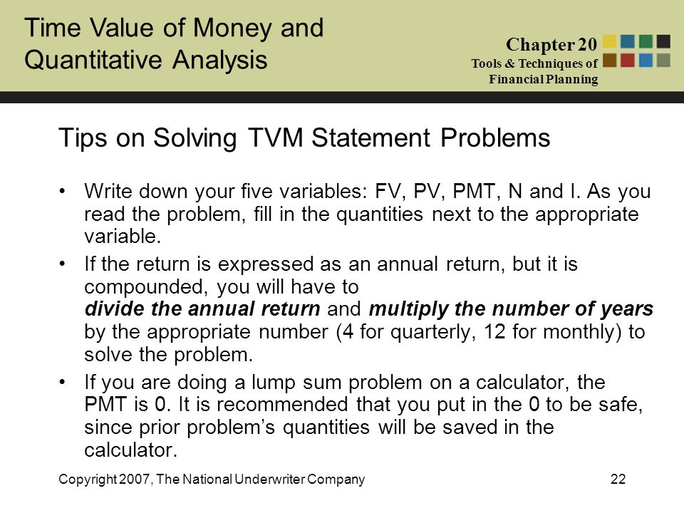 Tips on Solving TVM Statement Problems