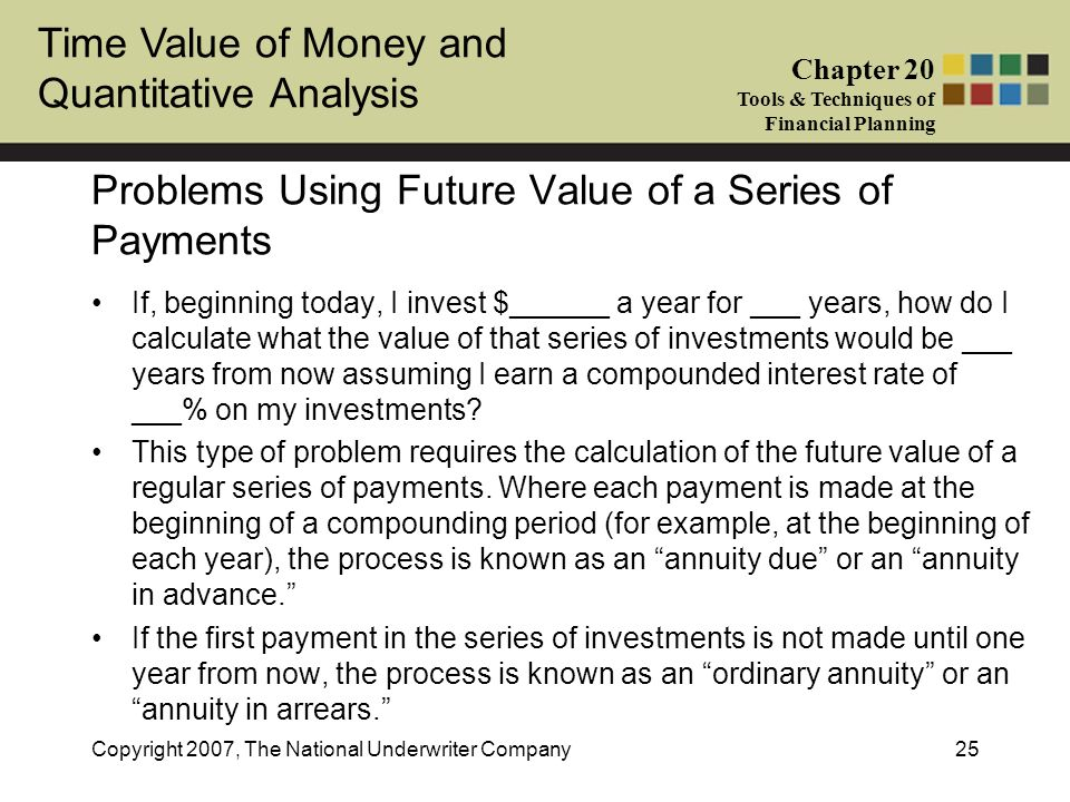 Problems Using Future Value of a Series of Payments