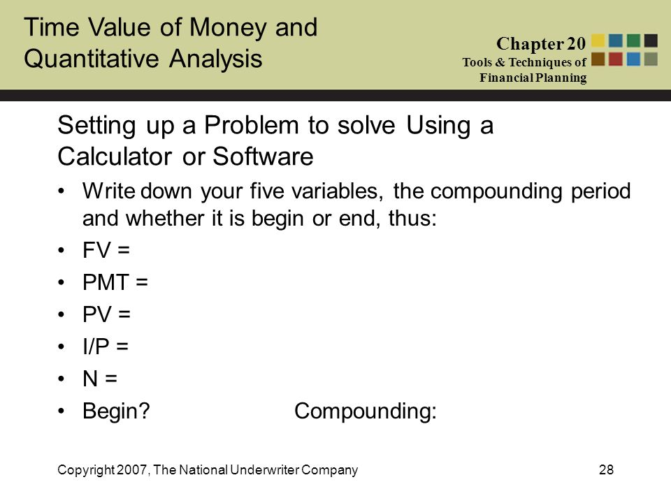 Setting up a Problem to solve Using a Calculator or Software