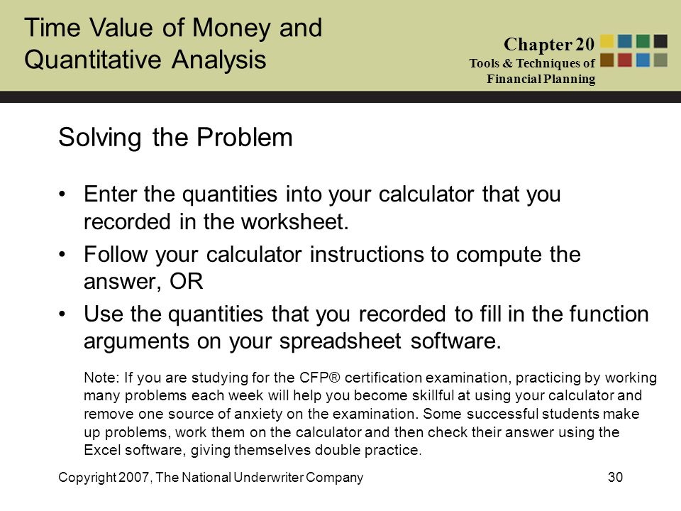 Solving the Problem Enter the quantities into your calculator that you recorded in the worksheet.