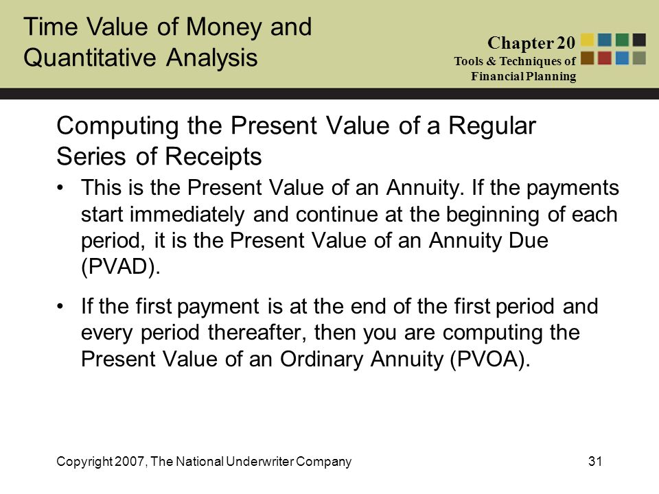 Computing the Present Value of a Regular Series of Receipts