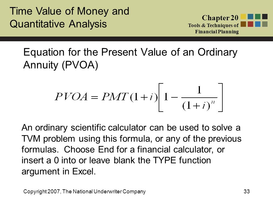 Equation for the Present Value of an Ordinary Annuity (PVOA)