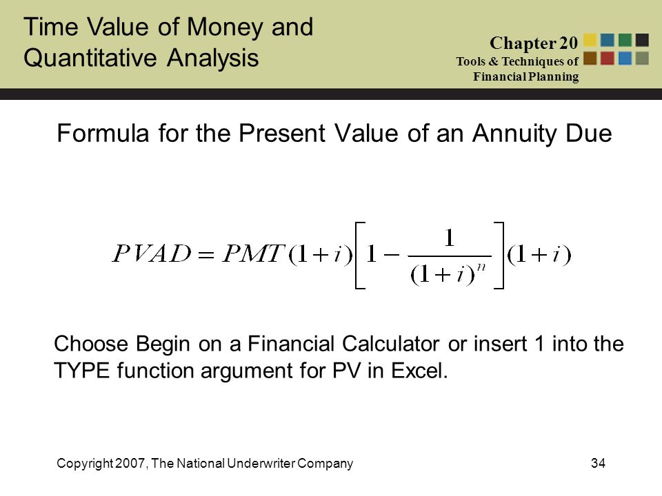 Formula for the Present Value of an Annuity Due