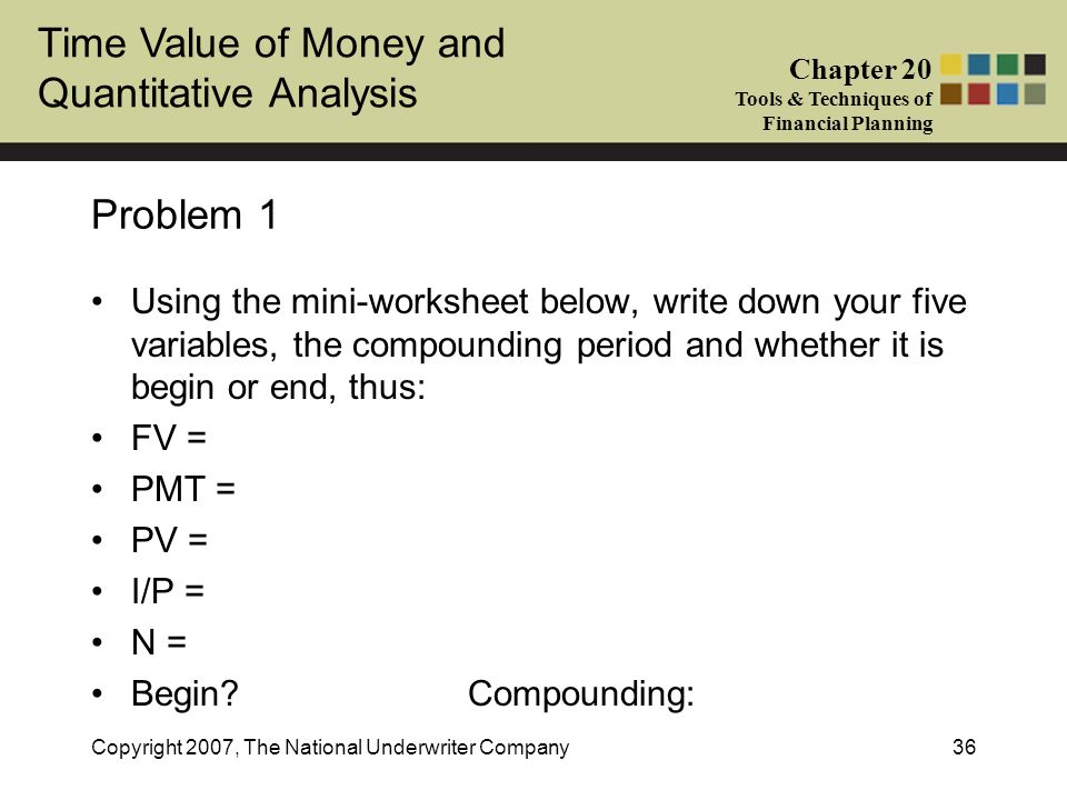 Problem 1 Using the mini-worksheet below, write down your five variables, the compounding period and whether it is begin or end, thus: