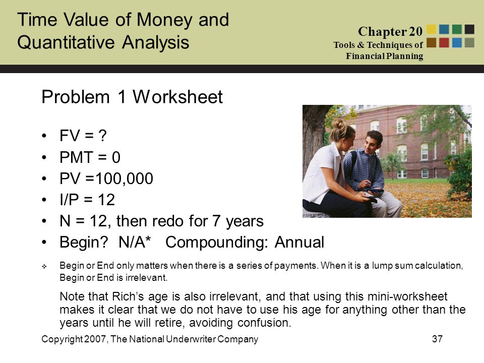 Problem 1 Worksheet FV = PMT = 0 PV =100,000 I/P = 12