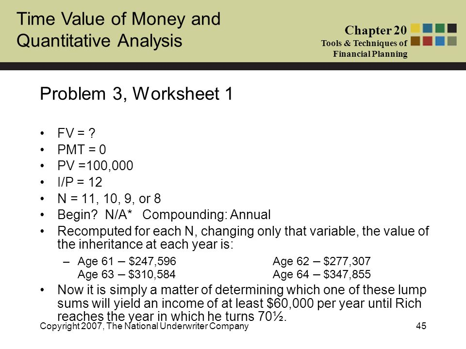 Problem 3, Worksheet 1 FV = PMT = 0 PV =100,000 I/P = 12