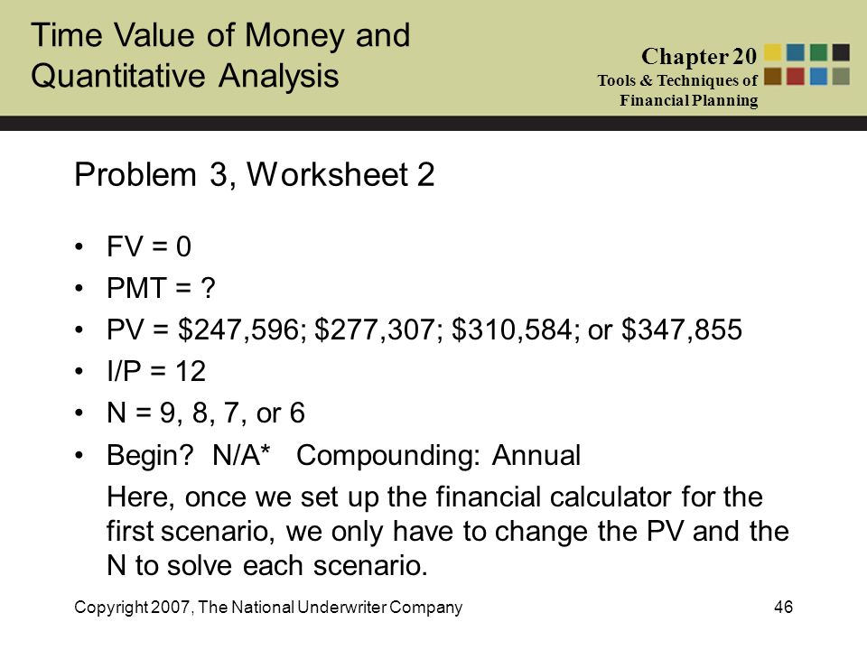 Problem 3, Worksheet 2 FV = 0 PMT =
