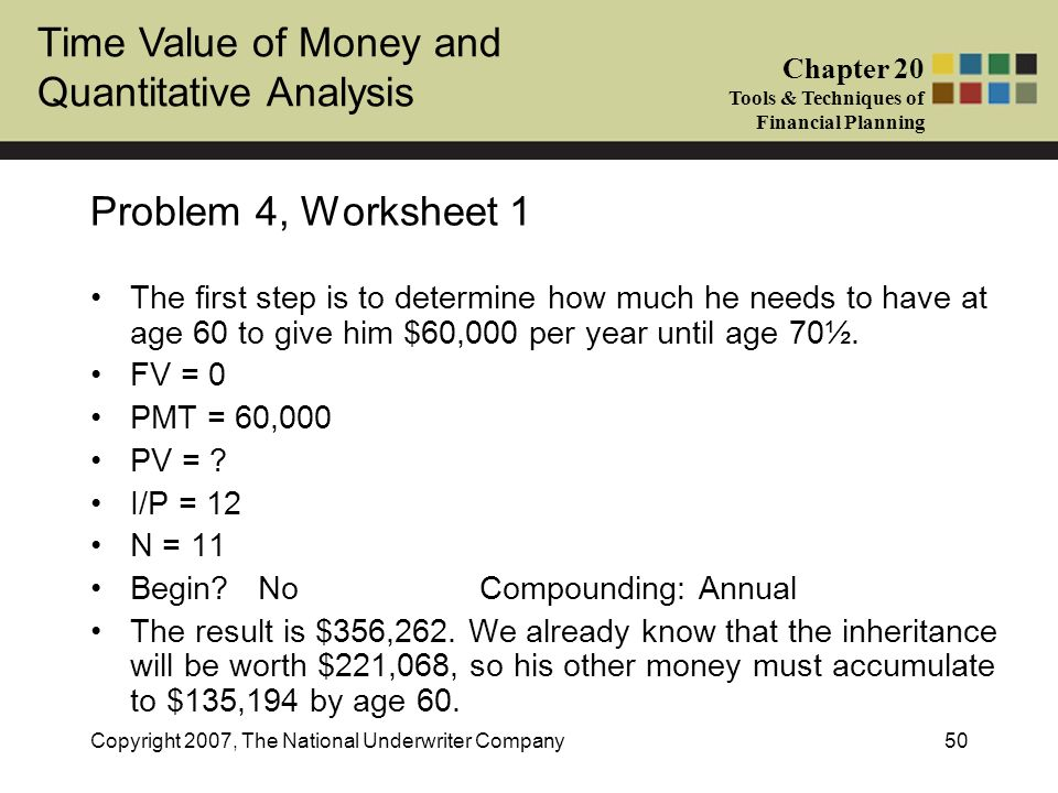 Problem 4, Worksheet 1 The first step is to determine how much he needs to have at age 60 to give him $60,000 per year until age 70½.