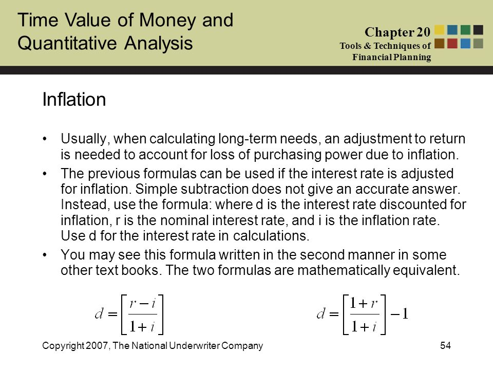 Inflation Usually, when calculating long-term needs, an adjustment to return is needed to account for loss of purchasing power due to inflation.