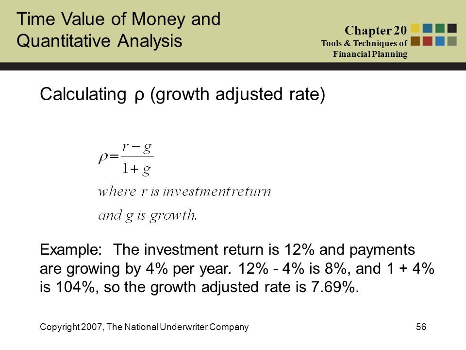 Calculating ρ (growth adjusted rate)
