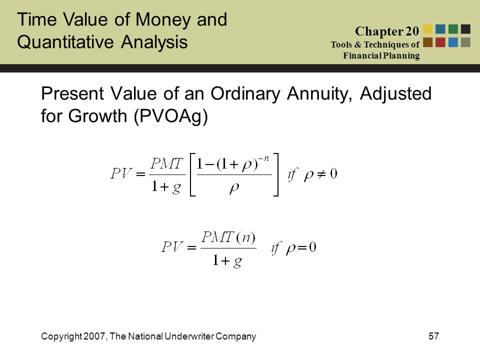 Present Value of an Ordinary Annuity, Adjusted for Growth (PVOAg)
