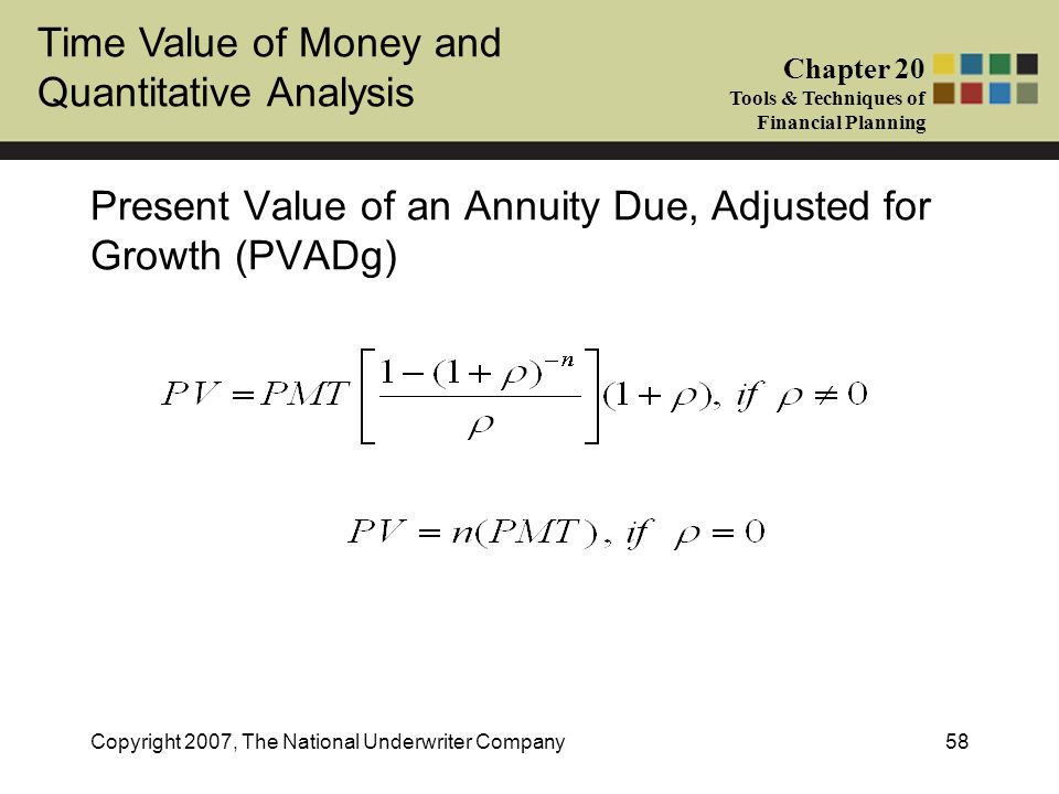 Present Value of an Annuity Due, Adjusted for Growth (PVADg)