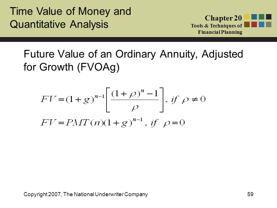 Future Value of an Ordinary Annuity, Adjusted for Growth (FVOAg)