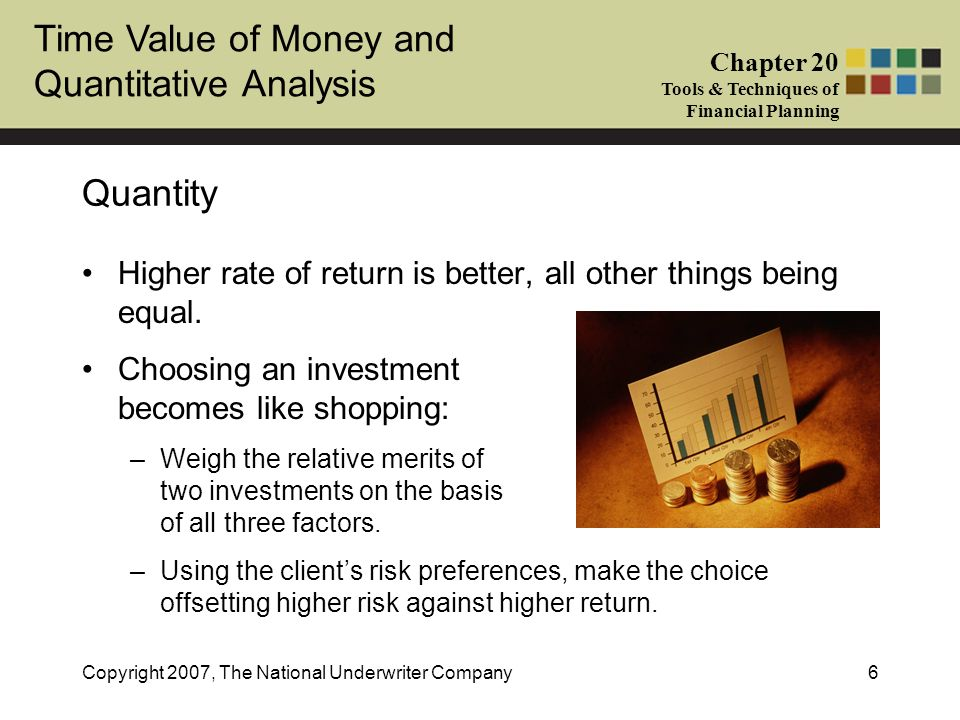 Quantity Higher rate of return is better, all other things being equal. Choosing an investment becomes like shopping: