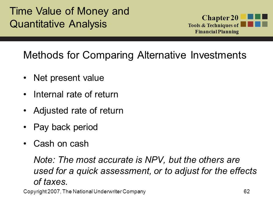 Methods for Comparing Alternative Investments