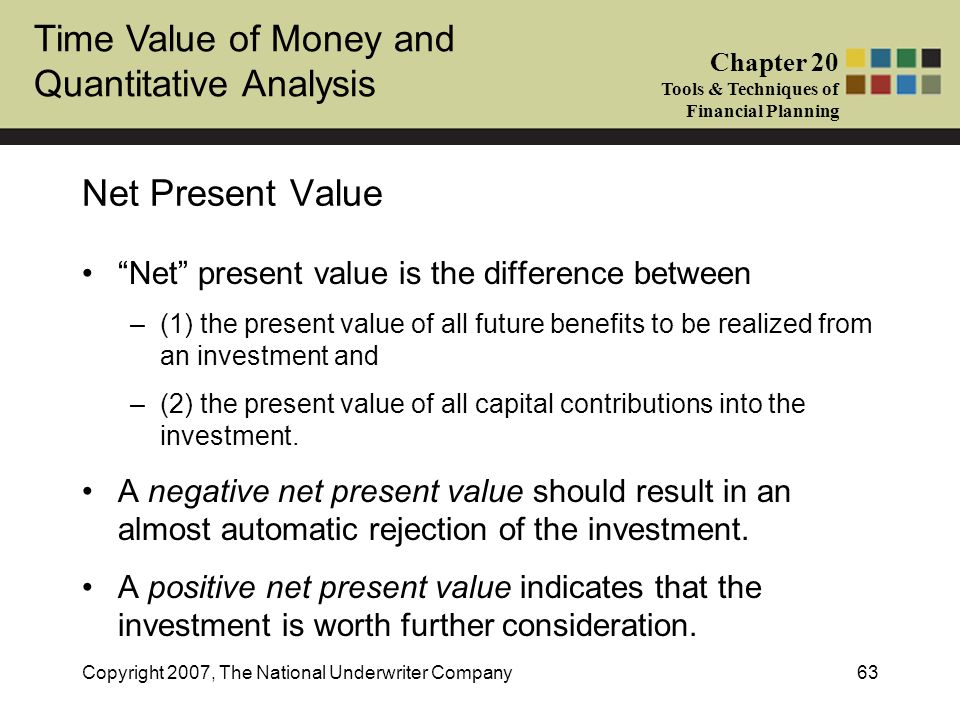 Net Present Value Net present value is the difference between