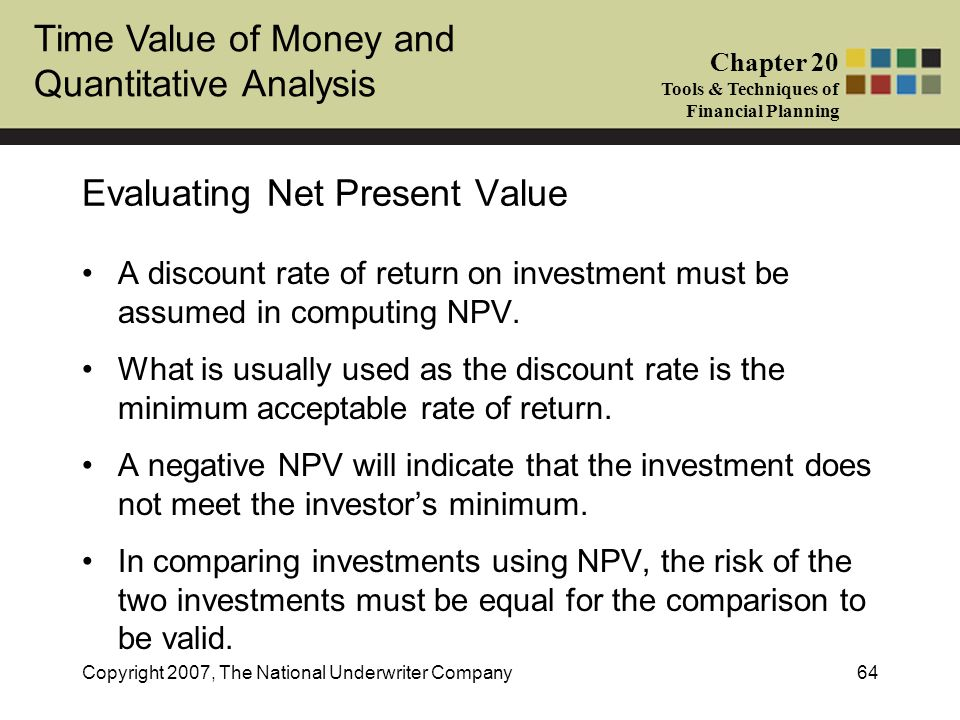 Evaluating Net Present Value