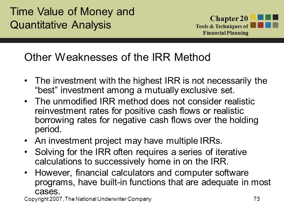 Other Weaknesses of the IRR Method