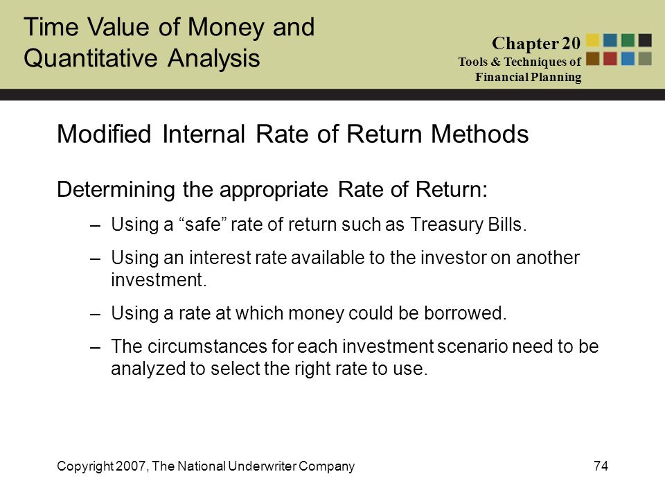 Modified Internal Rate of Return Methods