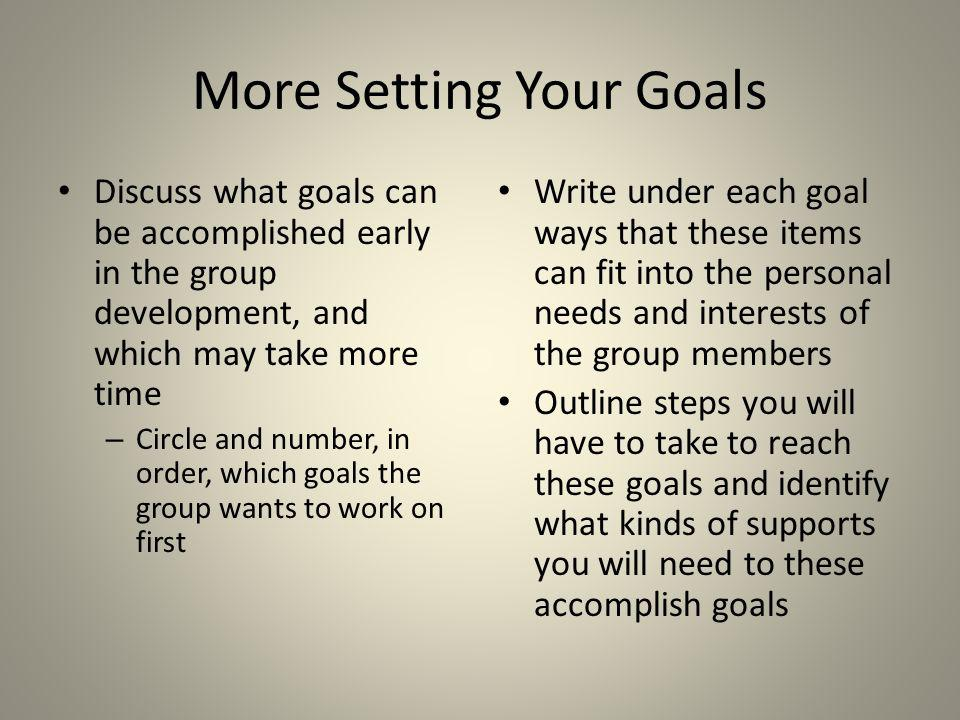 More Setting Your Goals